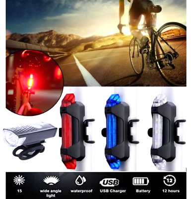 USB Rechargeable Bike Lights Front Rear Hazard Waterproof 5 LED Red White Blue • 4.99£
