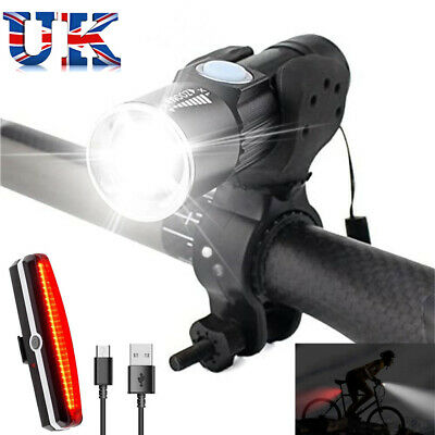 USB Rechargeable LED MTB Bicycle Super Bright Bike Lights Set Lamp Waterproof UK • 9.99£