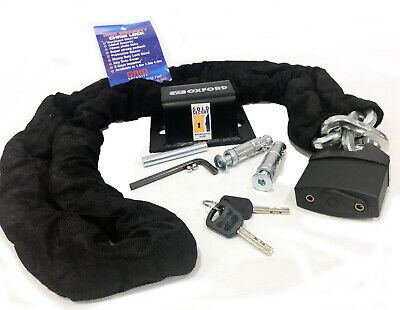 Oxford Brute Force Sold Secure Motorcycle Ground Anchor + Grid Chain Lock 1.8m • 37.99£