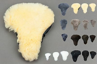BIKE BICYCLE SADDLE SEAT SHEEPSKIN COVER FUR RELUGAN COLOURS Soft&Warm ALL SIZES • 6.97£