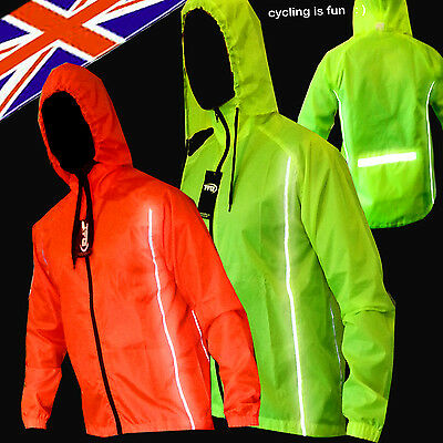 CYCLING JACKET Hi Viz HIGHLY VISIBLE HOODED WINDPROOF WATERPROOF BREATHABLE !!! • 12.99£
