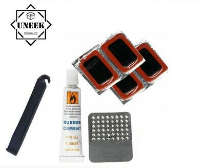 Bicycle Tyre Repair Tool Kit - Rubber Puncture Patches Glue-less Cycle Repair • 2.45£