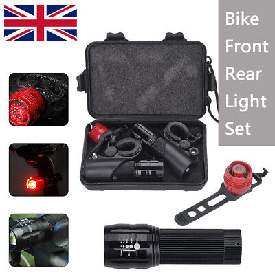 2 X CREE Q5 LED Front Rear Lamp Bike Bicycle  Zoomable Torch  Lights+Aluminum • 9.09£