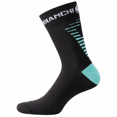 NEW Bianchi Milano Pro Penice Cycling Socks Celest Black Made In Italy • 11.99£