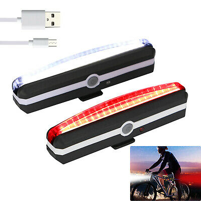USB Rechargeable LED Mountain Bike Cycle Front Rear Tail Light Set Waterproof UK • 9.69£