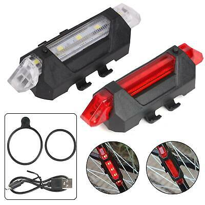 Front Rear 5 Led USB Rechargeable Bike Lights - Small Red White Light Waterproof • 3.65£