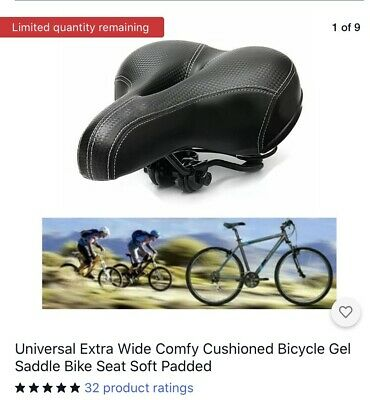 Universal Wide Comfy Cushioned Bicycle Gel Saddle Bike Seat Soft Padded • 10.50£