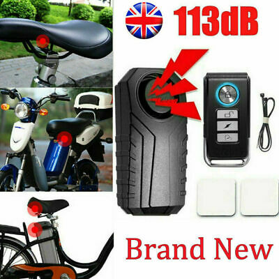 Wireless Bicycle Motorcycle IP55 Anti-Theft Alarm Vibration Remote Control 113dB • 12.99£