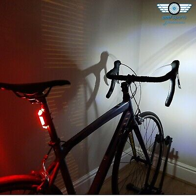 LED Bike Lights For All Bicycles, USB Rechargeable, Red + White, Road & MTB • 6.99£