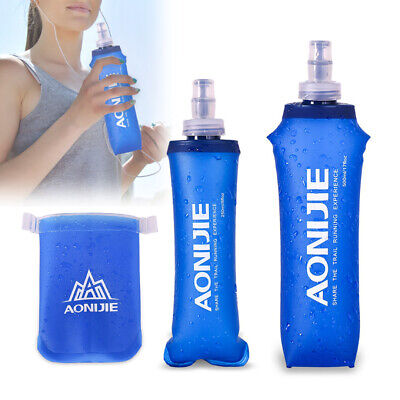 UK Outdoor Camping Foldable TPU Soft Flask Squeeze Running Sports Water Bottle • 6.99£