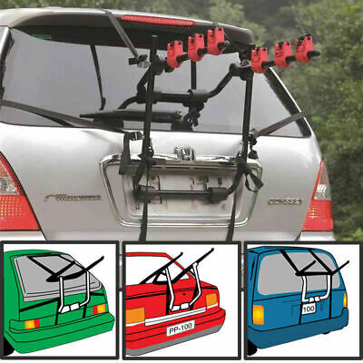 3 Bicycle Bike Car Cycle Carrier Rack Universal Fitting Saloon Hatchback Estate • 37.50£
