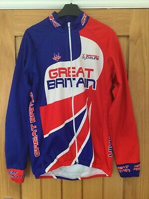 Mens Long Sleeved Full Zip GB Cycling Jersey. Size L (see More Details Below) • 5£