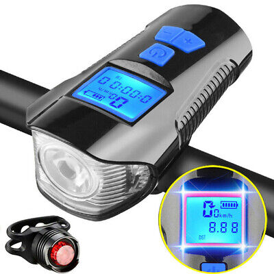 Bicycle Bike Cycling Head Front Rear Lights MTB Tail Lamp USB Rechargeable Set • 13.64£