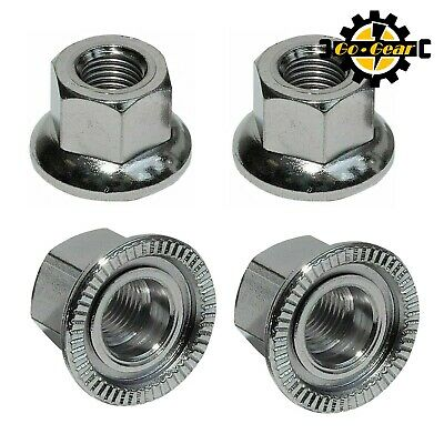 Bike AXLE WHEEL NUTS Standard Size 3/8  With Flange For Non Quick Release Cycles • 3.49£