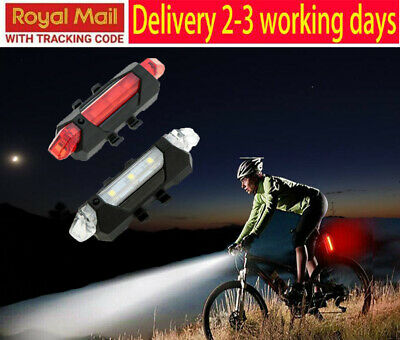 LED Bike Lights For All Bicycles USB Rechargeable Red+White Road & MTB Fast Free • 5.39£