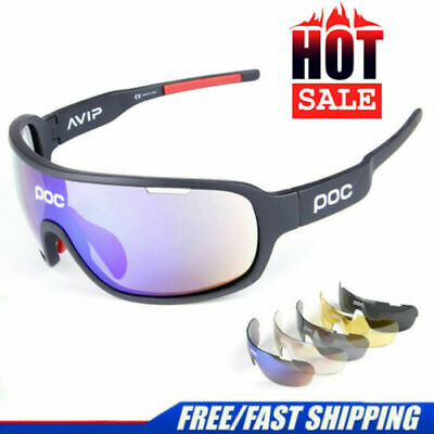UK STOCK 5 Pieces POC Sunglasses Polarized Cycling Glasses Sports Glasses Glasse • 14.99£