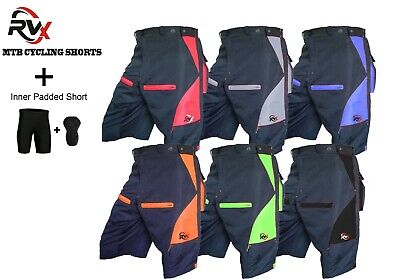 RVX MTB Cycling Shorts Off Road Cycle Bicycle CoolMax Padded Liner Short Model • 15.95£