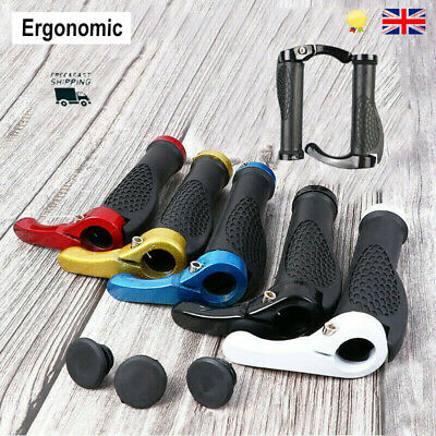 Ergonomic Rubber Bicycle Handlebar Grips MTB Mountain Bike Cycling Lock-On Ends • 7.48£