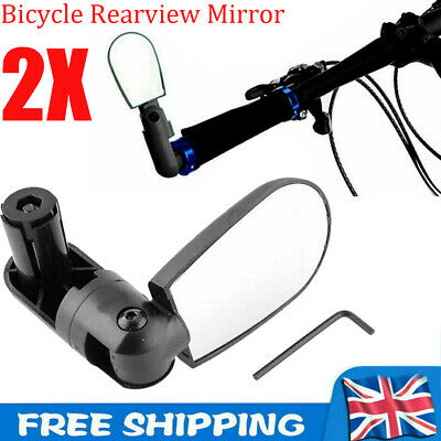 2X Bicycle Rearview Mirror Handlebar End 360° Rotating MTB E-Bike Cycling Safety • 4.79£