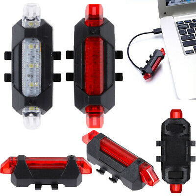 USB Rechargeable Bike Lights Front Rear Bicycle Light Waterproof 5 LED Red White • 3.19£