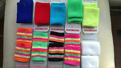 Pair Plain / Neon Sport Sweatbands Wrist Sweat Bands  Wristband Band UNISEX • 1.99£
