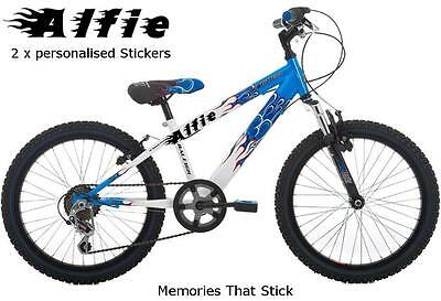 2 X PERSONALISED Stickers Name Bike Scooter Helmet Cycle Frame Racing Decals Fl • 2.50£