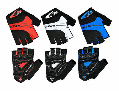 FDX Cycling Gloves Fingerless Half Finger Gloves Bike Riding Mitts Gloves  • 9£
