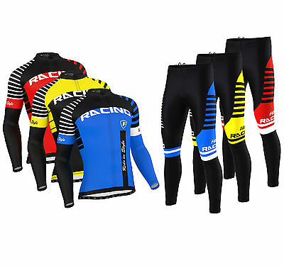 FDX Mens Blaze Cycling Jersey Cold Wear Thermal Top + Cycling Tights Pants  Set • 42£