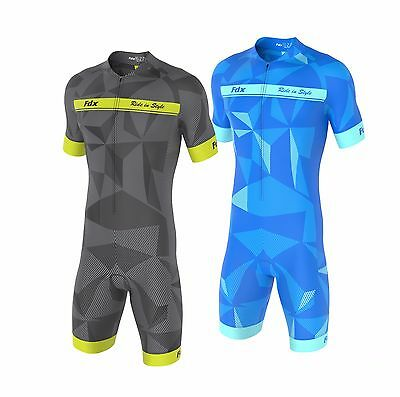 FDX Mens Classic Cycling Skinsuit Stylish Padded One Piece Cycling Tri Suit Set • 29.95£