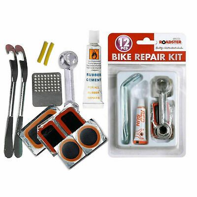 Bike Tyre Tube Bicycle Puncture Repair Kit Cycle Patches Glue Spanner Tool Lever • 3.95£