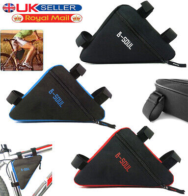 Waterproof Triangle Cycling Bike Bicycle Front Tube Frame Saddle Bag Phone Pouch • 5.49£