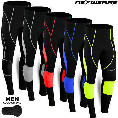 Mens Cycling Tights Coolmax Compression Padded Bicycle Bike Legging Trouser Pant • 12.99£