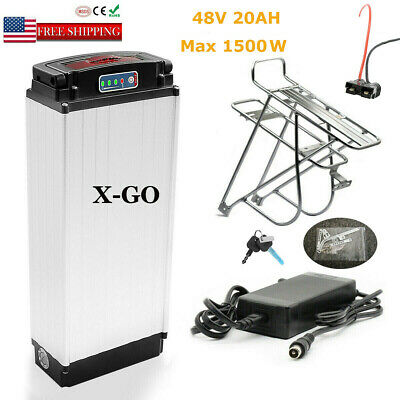 48V 20Ah 1000W 1500W Rear Rack Carrier Battery Lithium Electric Bicycle Bike Lot • 449.99£