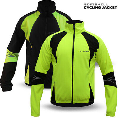 Mens Cycling Jacket Winter Thermal Softshell Fleece Windproof Long Sleeve NEW • 29.99£