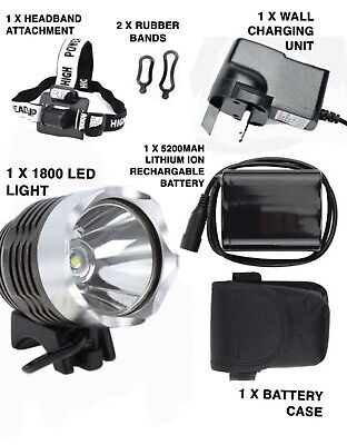 New Cree Xml 2 Mtb/cycling/hiking 1800 Lumen Rechargeable Led Light / Head Torch • 21.93£