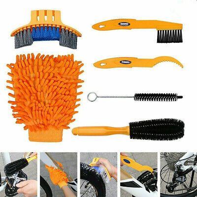 6Pcs Bicycle Cleaning Brush Gloves Tool Kit Set Bike Chain Cleaner Glove Outdoor • 12.89£
