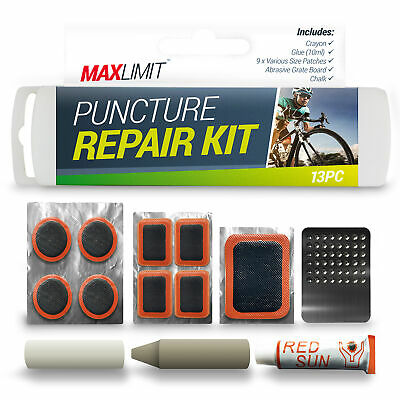 13 Piece Puncture Repair Kit Bike Cycle Travel Size Inner Tube Glue Patch Chalk • 2.99£