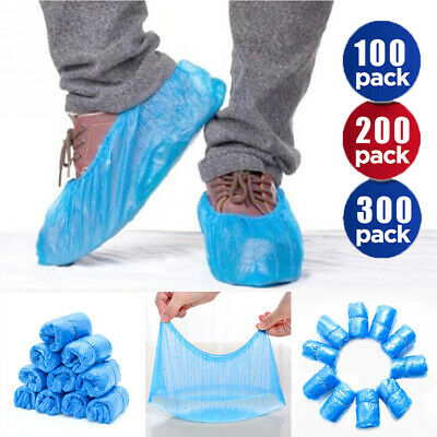300 Disposable Shoe Covers Blue Anti Slip Plastic Cleaning Overshoes Boot Safety • 12.99£
