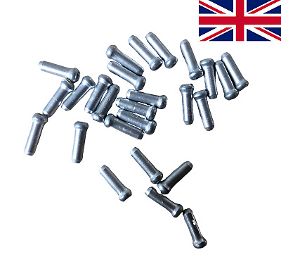 25 X Silver Alloy Cable End Caps For Road MTB Bikes Bicycle • 1.99£
