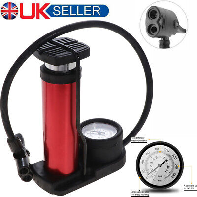 Bicycle Bike Pump Foot Floor Pump Portable Schrader & Presta Valve W/ Gauge 140P • 9.99£