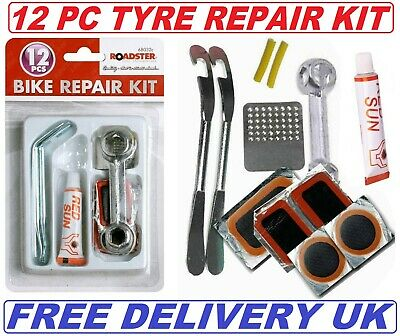 12pc Bike Bicycle Tyre Puncture Repair Kit • 3.49£