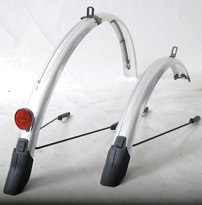SKS 700c X 45mm Hybrid Commuter Bike Mudguards & Light Cable Tunnel Silver Strip • 19.99£