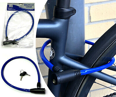 BIKE LOCK Bicycle Compact Cycle Security Cable BLUE Steel Plastic Coated & Keys • 2.74£