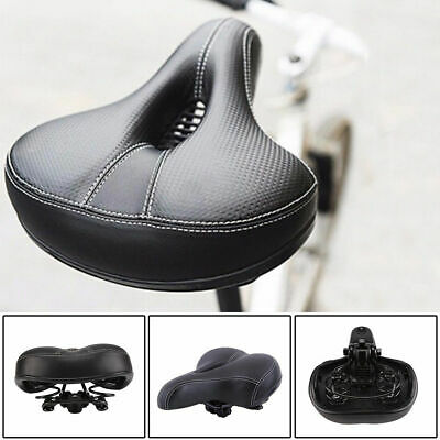 Dual-spring Bike Bicycle Wide Big Bum Soft Extra Comfort Saddle Seat Pad UK • 7.59£