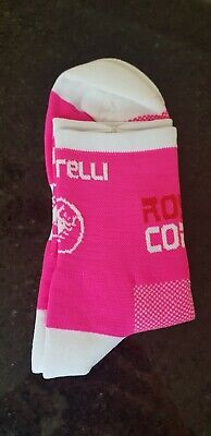 New Pink Rosso Corsa Cycling Socks Size 7-13 • 5.50£