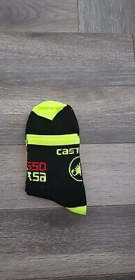 New Black & Fluo Yellow Rosso Corsa Cycling Socks Size 7-13 • 5.50£
