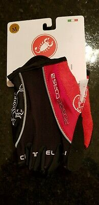 Black & Red Castelli Rosso Corsa Cycling Gloves Mitt Size Medium • 12.99£