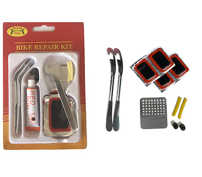 Bike Tyre Tube Bicycle Puncture Repair Kit Cycle Patches Glue Spanner Tool Lever • 1.99£