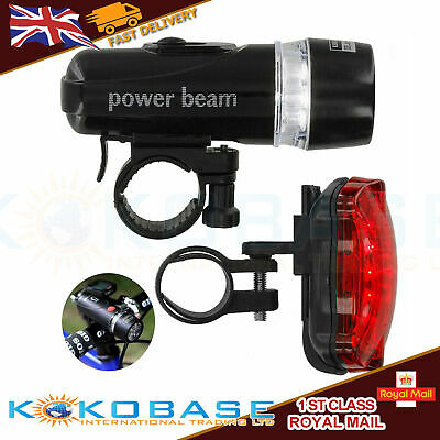 UK LED Mountain Cycle Headlight Batteries Bicycle Bike Front Rear Lights Set • 5.98£