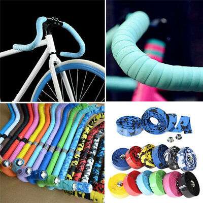 2PCS Cycling Road Bike Bicycle Handlebar Tape Bike Bar Wrap Ribbon Bar Plugs • 2.99£